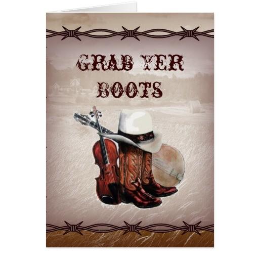 country cowboy boots farm wedding invitation cards 137266681637870646