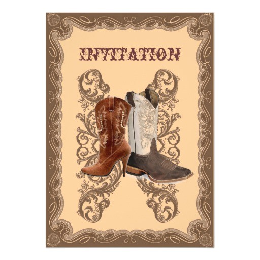 country cowboy boots western wedding invitation 161985740032631451