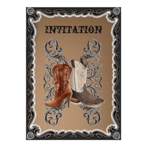 country cowboy boots western wedding invitation 161231409060302755
