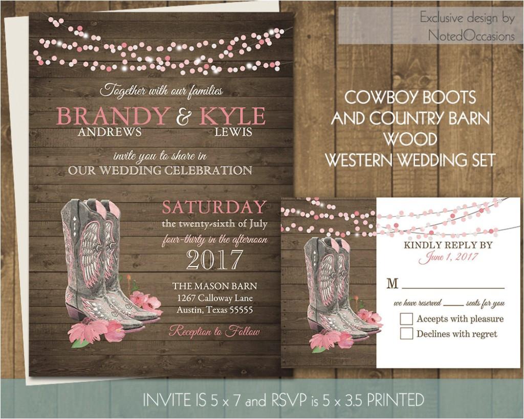 cowboy and cowgirl wedding invitations