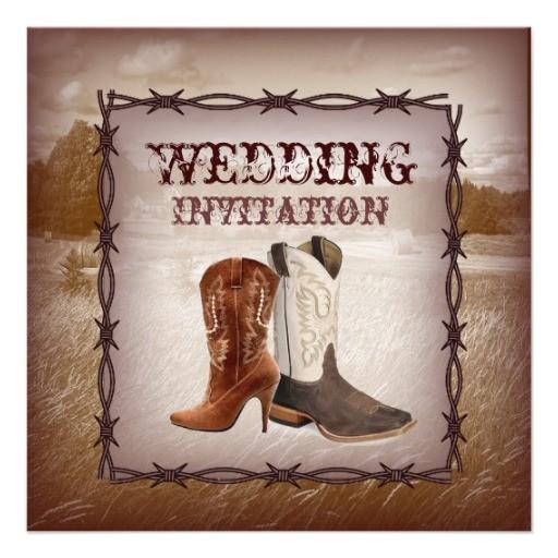 cowboy boots western country wedding invitation 161255138865054711