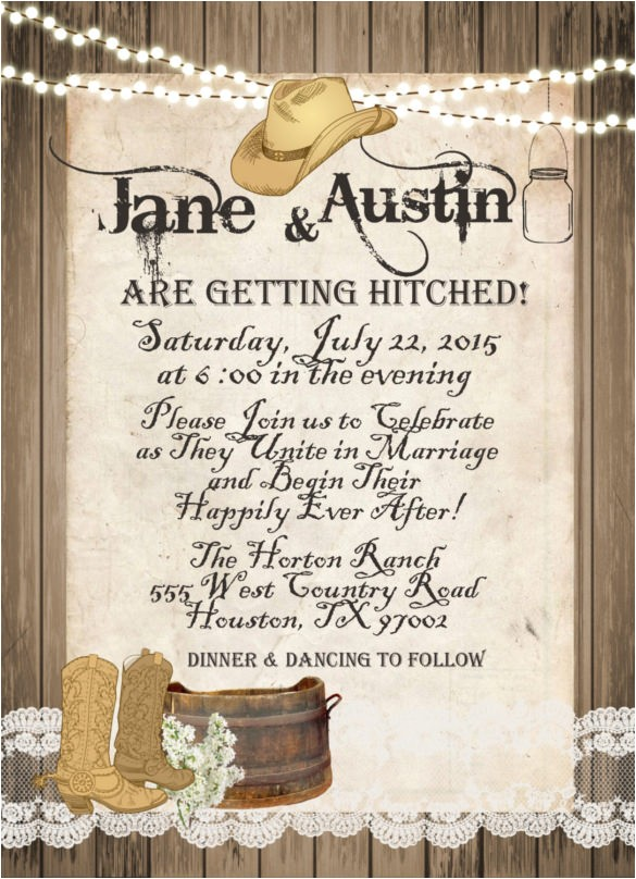 sample western wedding invitation