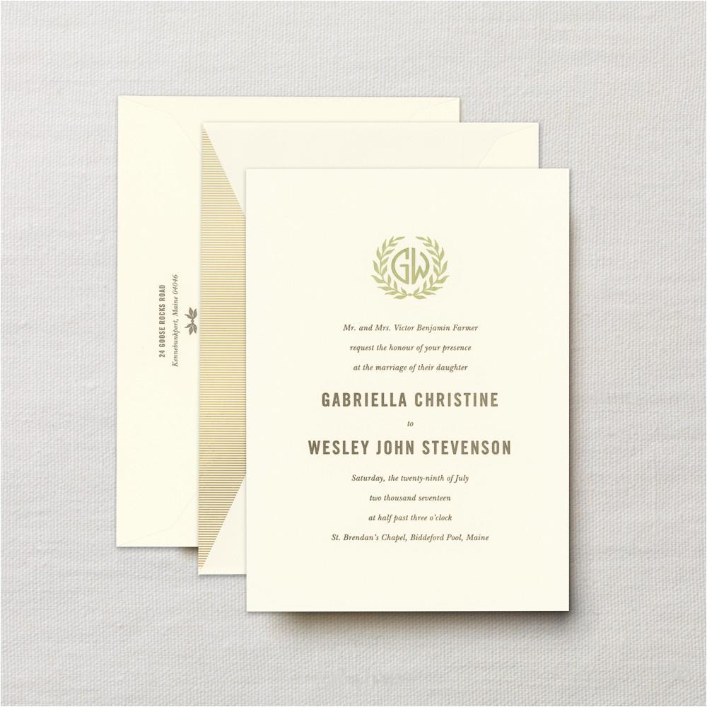 letterpress embassy laurel wedding invitation