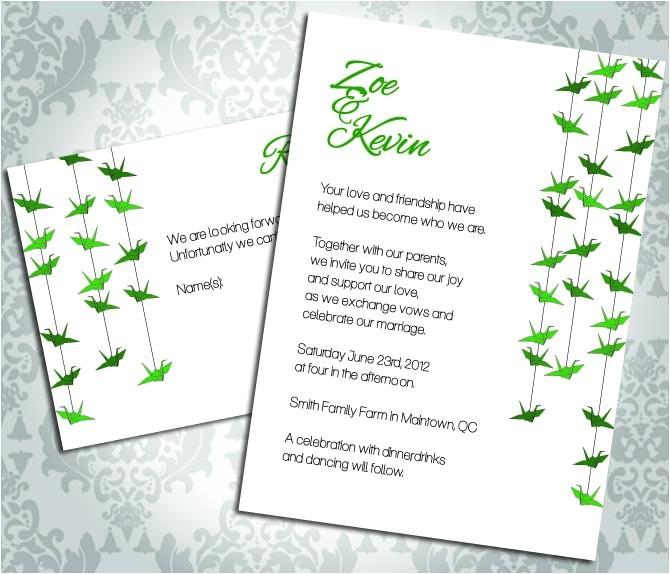 wedding invitation paper crane party invitation and rsvp custom
