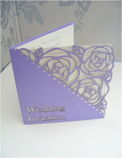 tulip laser cut single fold wedding invitation lila