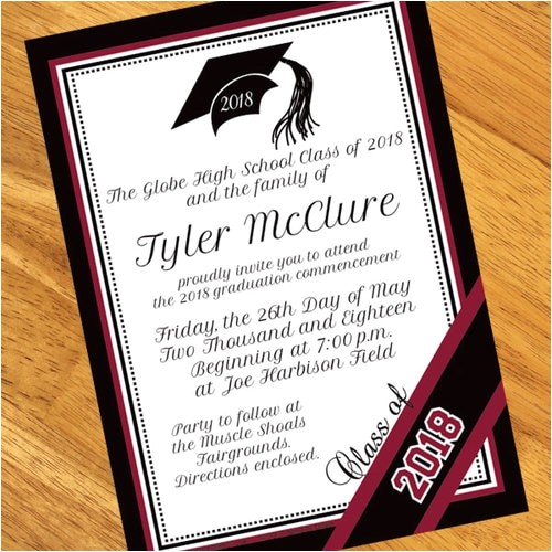 burgundy personalized graduation invitations