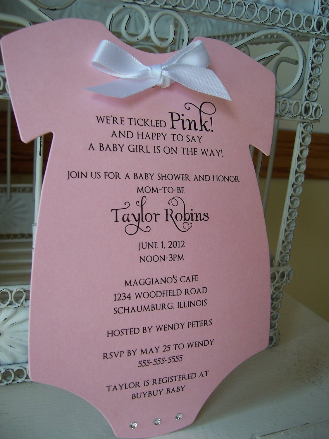 Customizable Baby Shower Invites Think Pink Baby Shower Invitation Custom order for Shiloh
