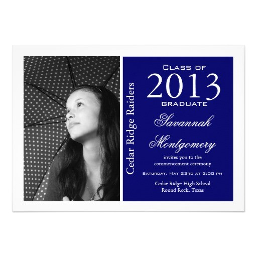 custom photo graduation announcements blue 161331071046319846
