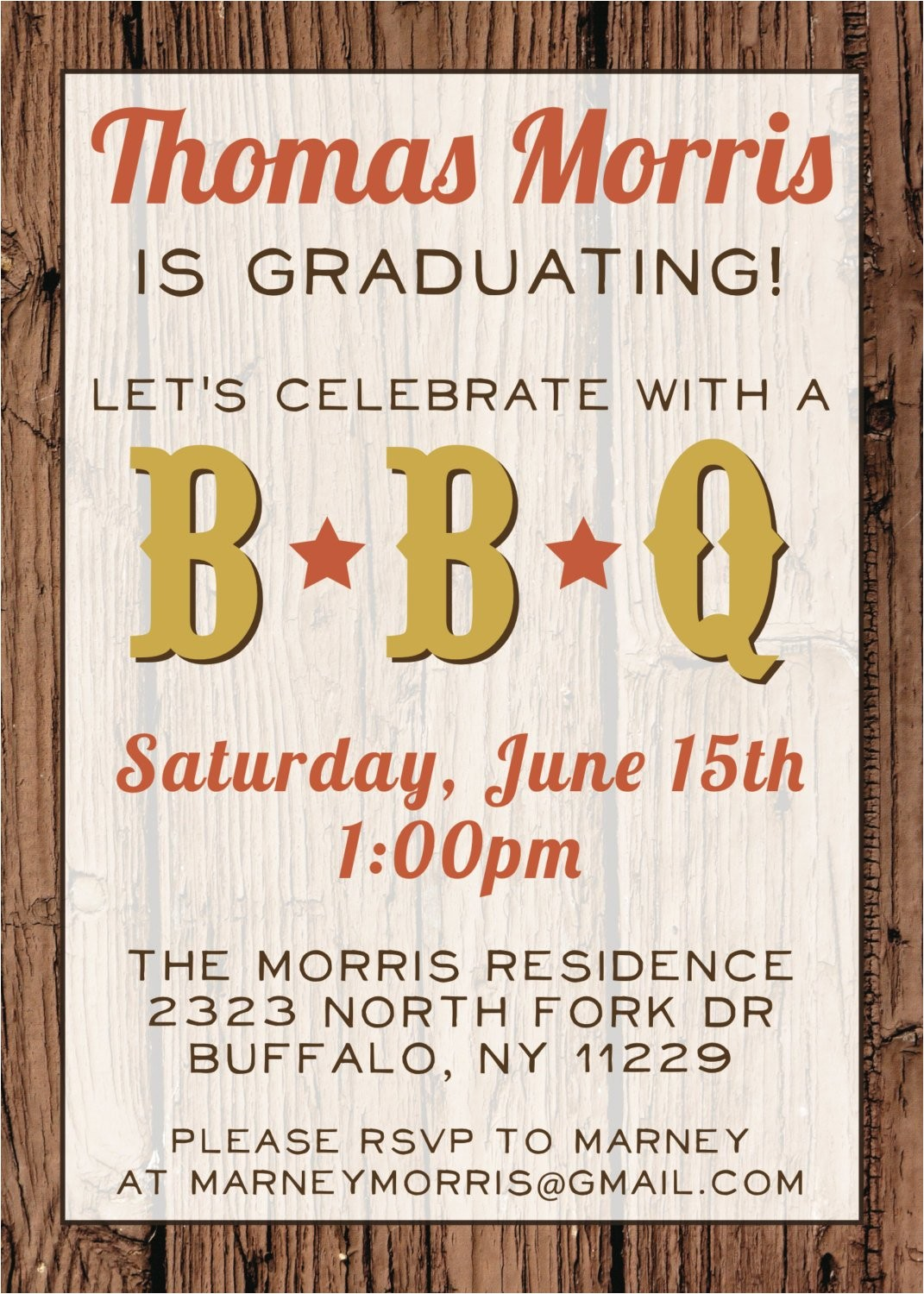 custom bbq graduation party invitation