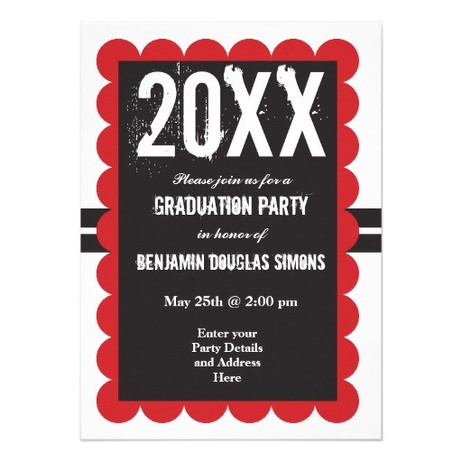custom graduation party invitations black and red 161513941743256457