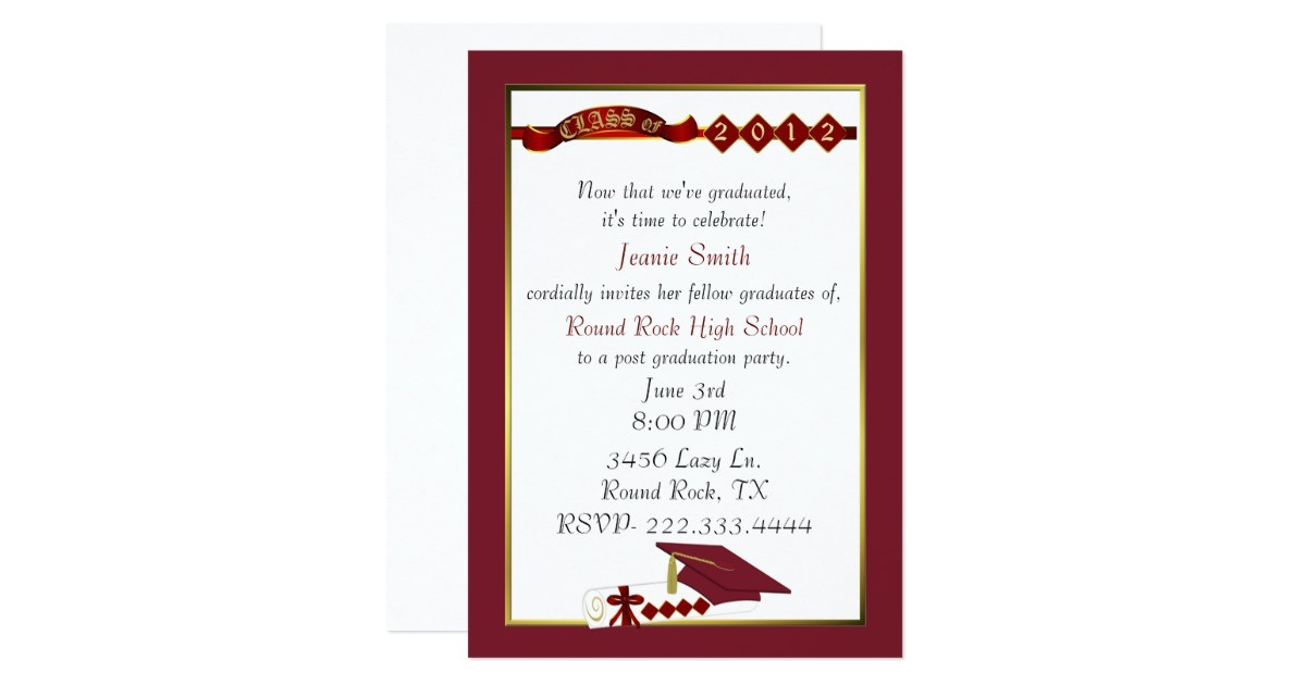 custom red graduation party invitation 161433724664690838