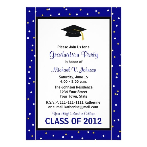 graduation party invitation navy 161809666268717325