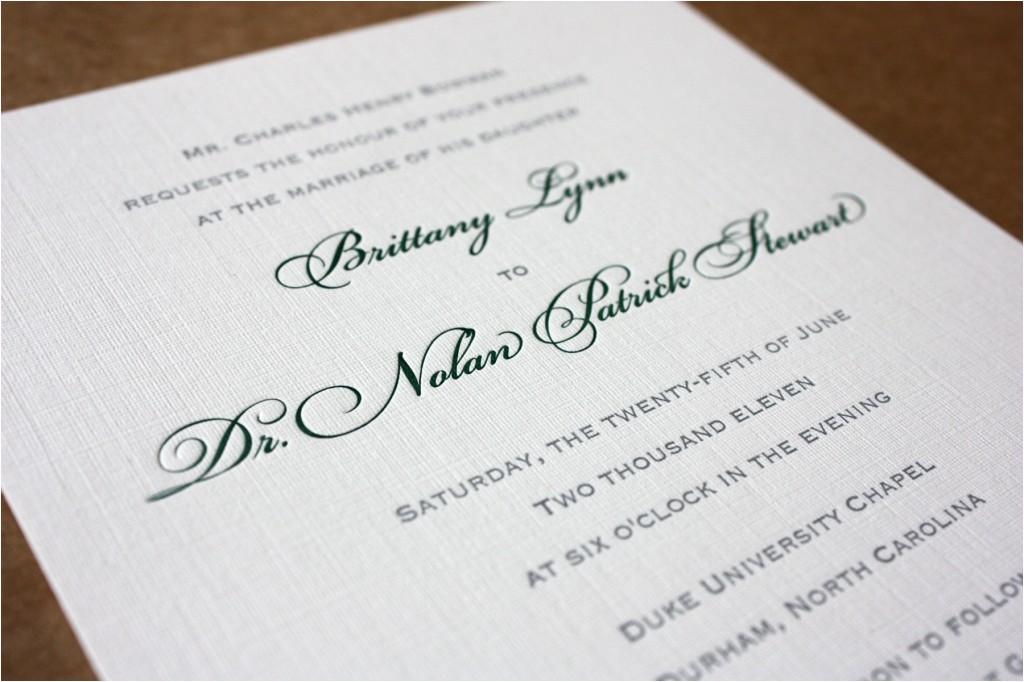 dark green and gray magnolia letterpress invitations
