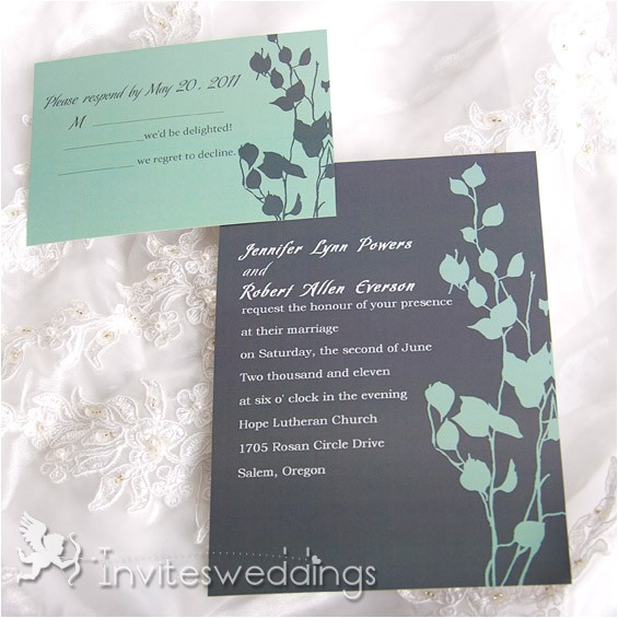dark green and grey wedding invitation iwi038 p 38