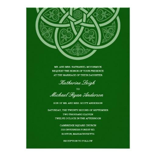 dark green celtic knot wedding invitations 161484378869514605
