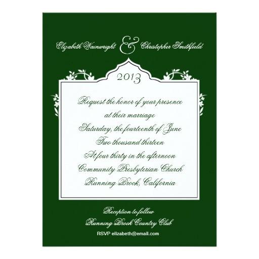 dark green floral wedding invitation 161452826695797004