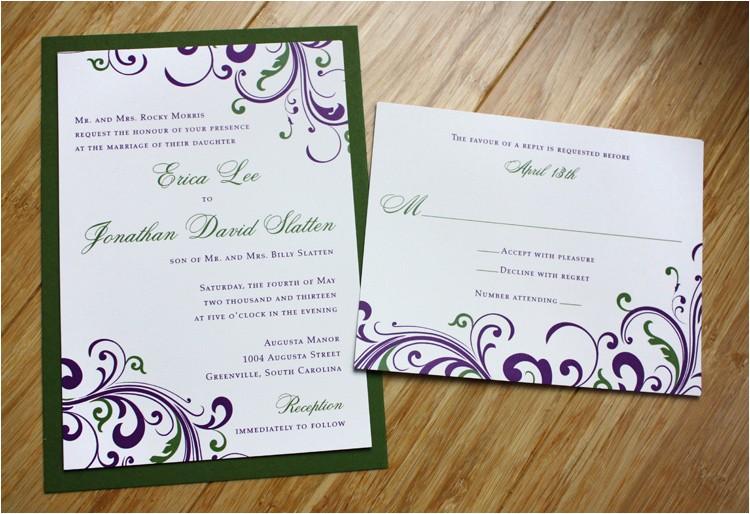 dark purple green swirls and scrolls wedding invitations