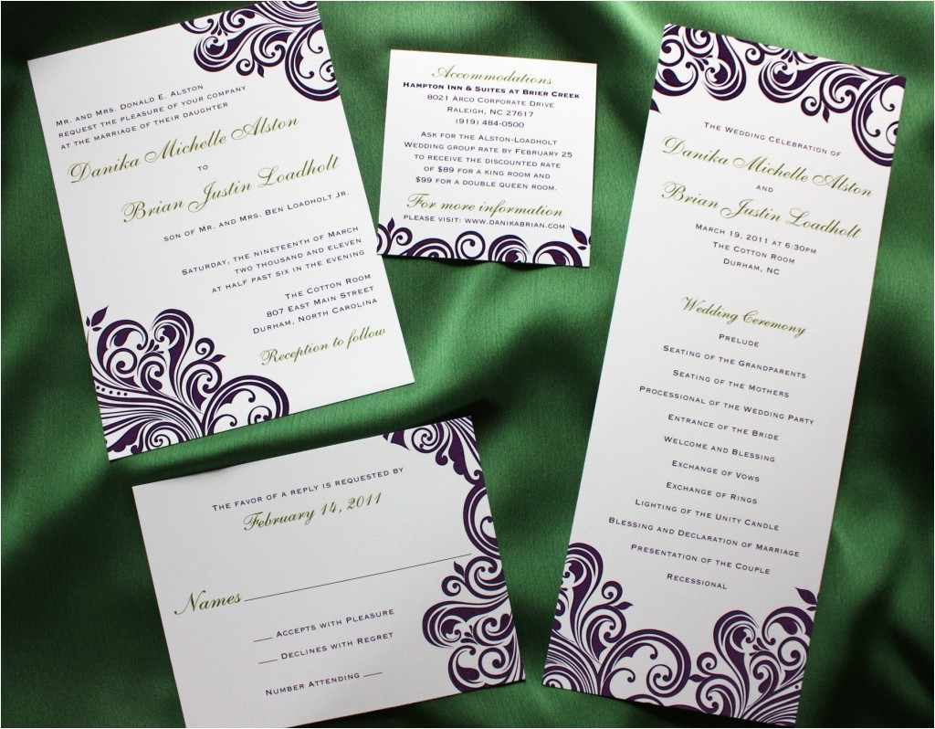 green and purple swirl damask wedding invite