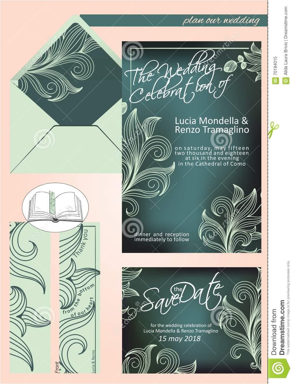 elegant wedding invitation in shades of dark green and li