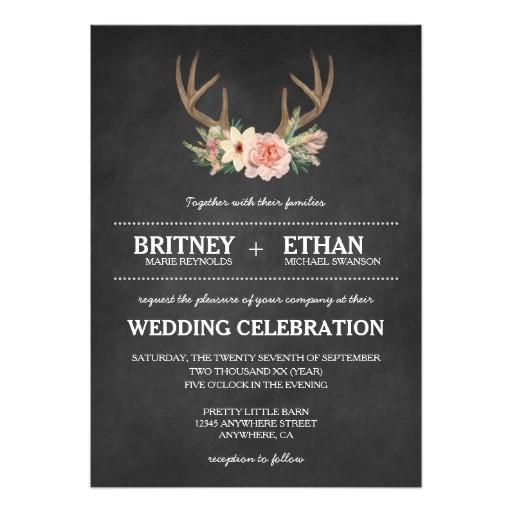 country chalkboard deer antler wedding invitations 256579157354150561