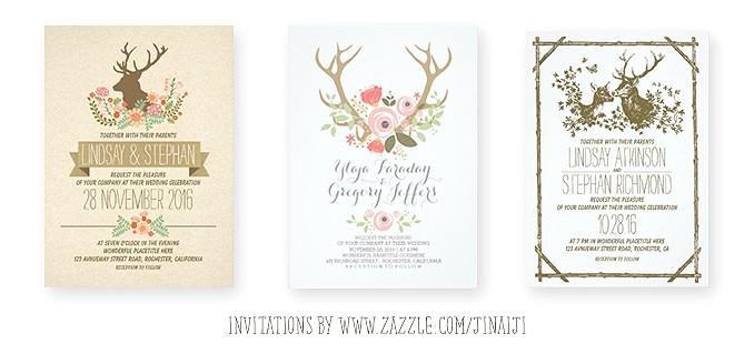deer wedding invitation romantic watercolors