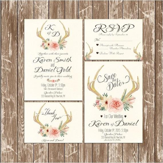 deer antler wedding invitation rustic