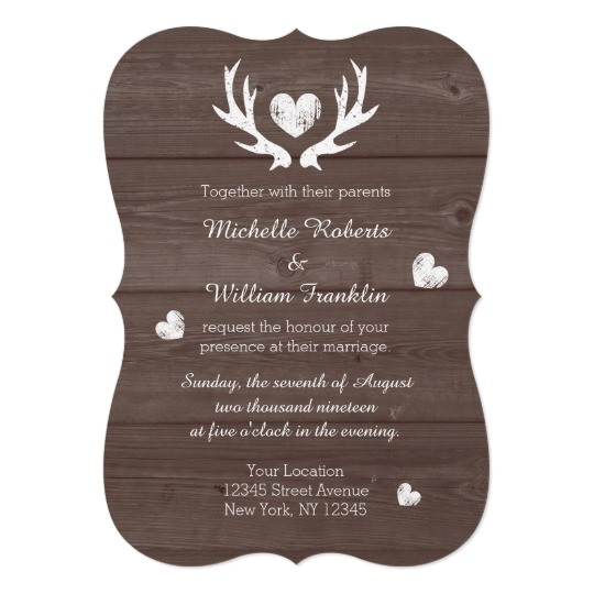 rustic country chic deer antler wedding invitation 256936420822161495