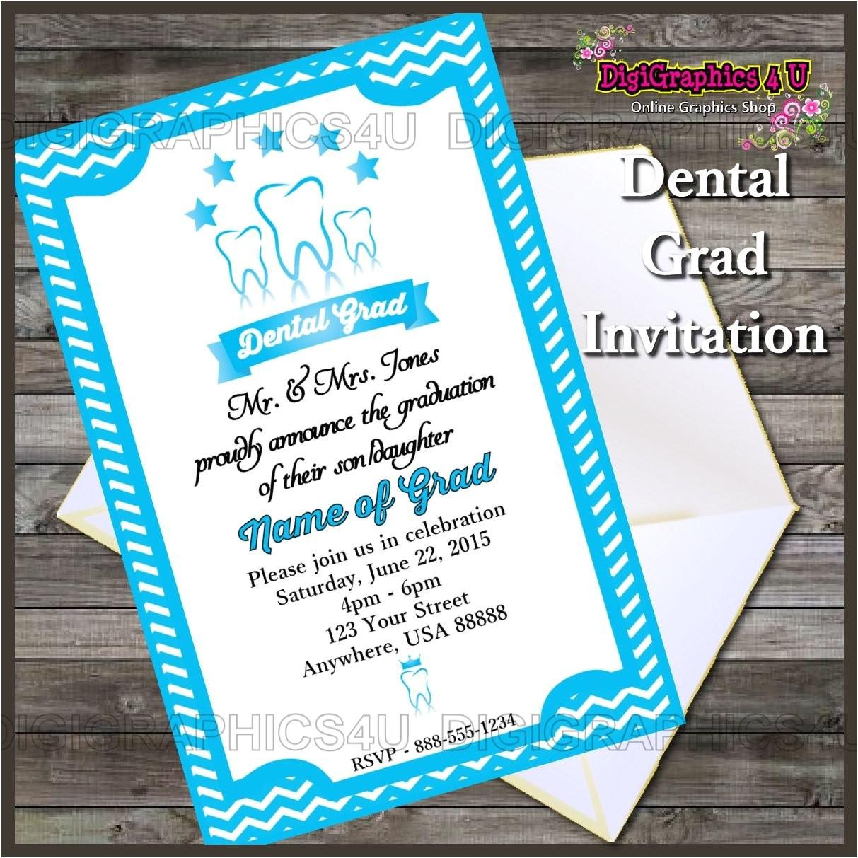 dental graduation party invitation printable digital file