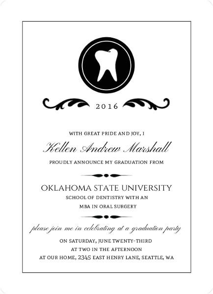 dental school graduation announcement wording