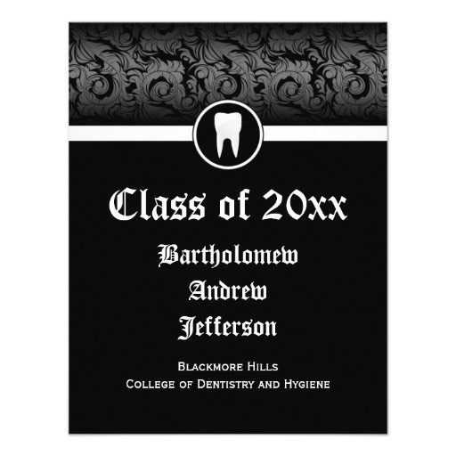 black and white dental school graduation dentistry invitation 161820888876528954