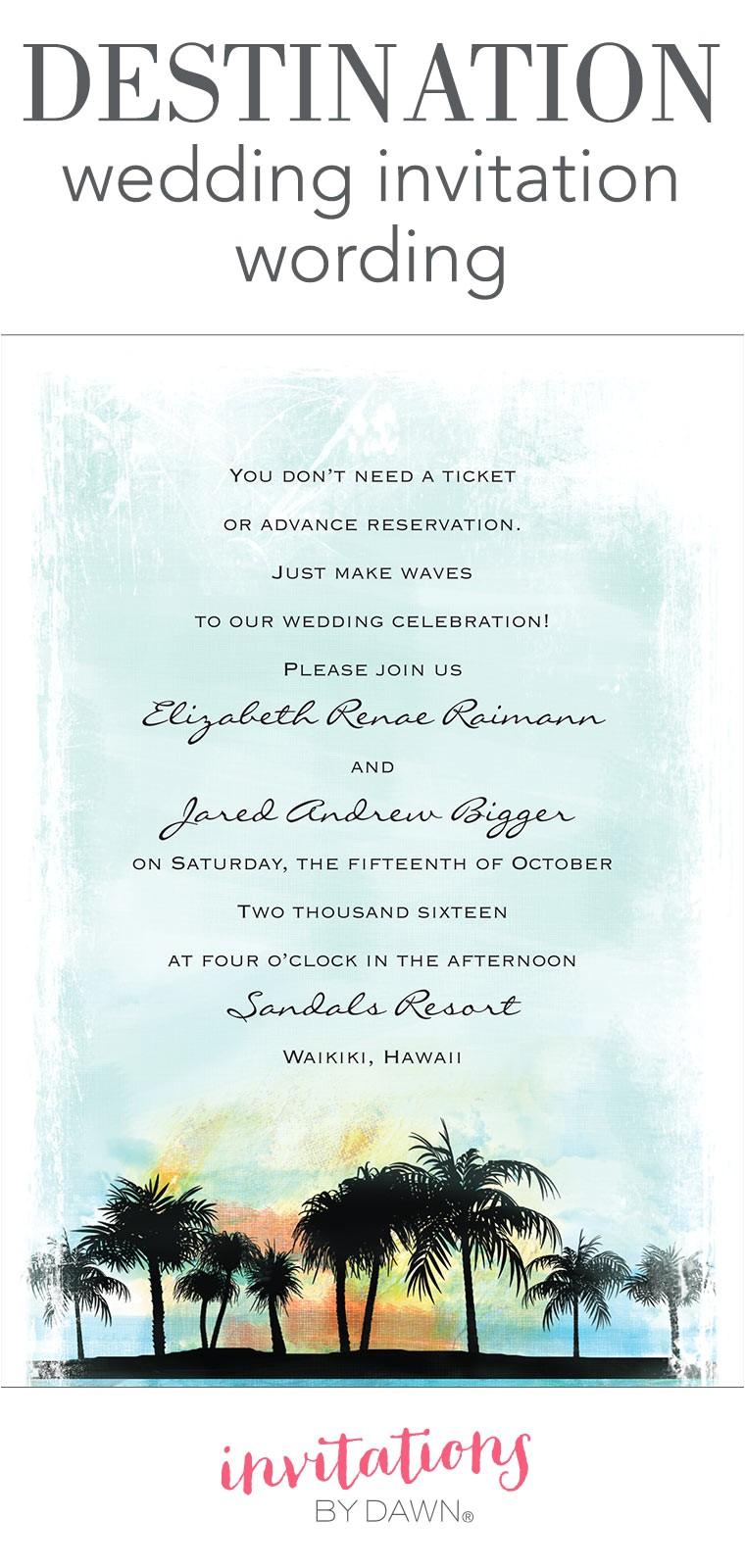 Destination Wedding Invitation Samples Destination Wedding Invitation Wording Invitations by Dawn