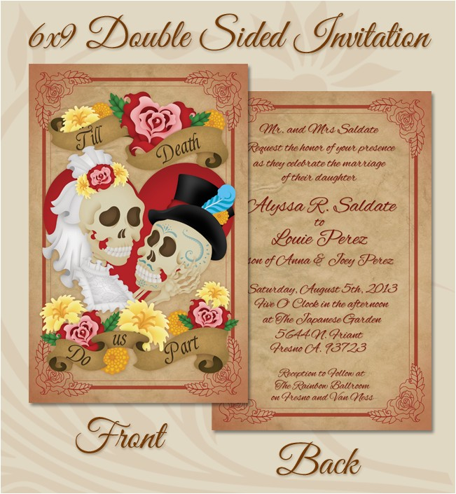dia de los muertos wedding invitation close up 391601938