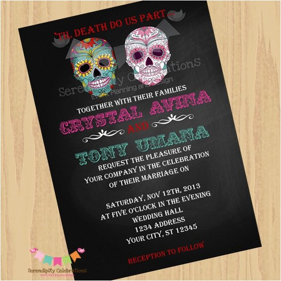 diy digital sugar skull invitation dia