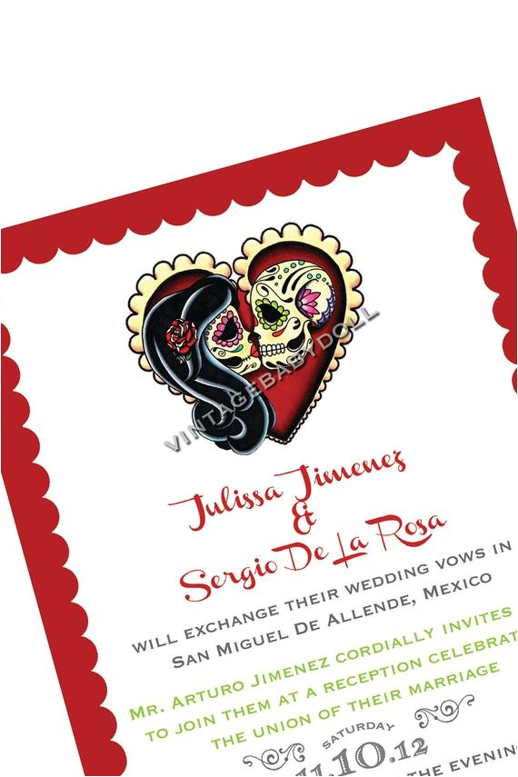 Dia De Los Muertos Wedding Invitations Items Similar to Dia De Los Muertos Invitation and Rsvp