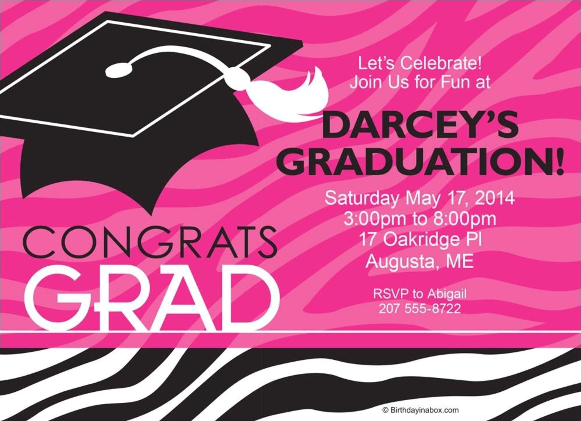 pink zebra grad personalized invitation each code csenextag cawelaid 530008550000315524