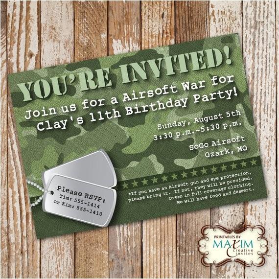 camo birthday invitation diy printable
