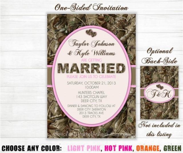 camo wedding invitation hunting camouflage orange pink purple green invites single sided diy printable jpeg pdf