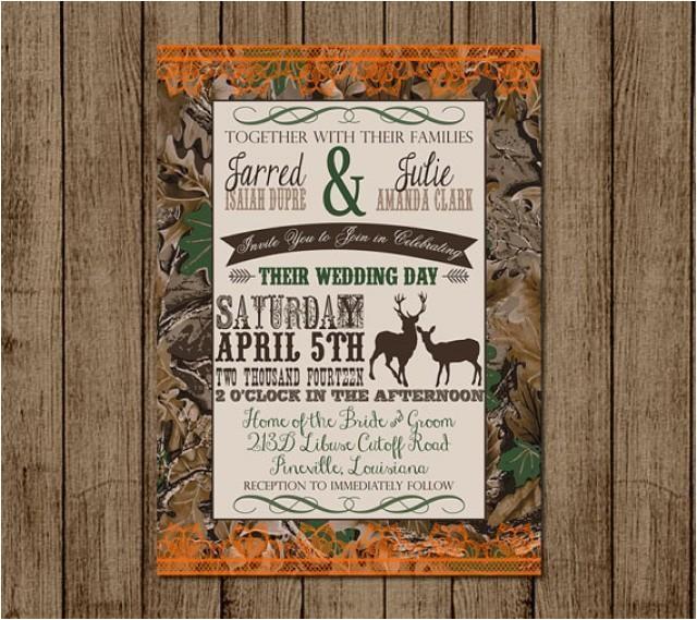 customized wedding invitation camo orange deer camouflage couples shower bridal shower hunting redneck wedding 5x diy digital file