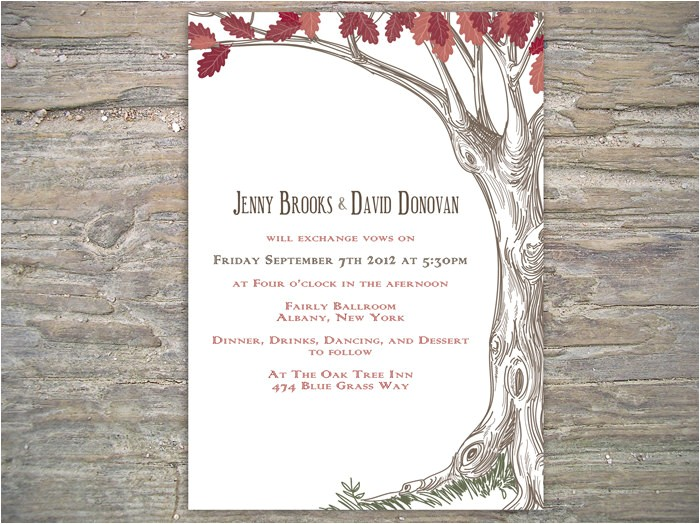 autumn rustic tree invitation printable diy for fall wedding or event