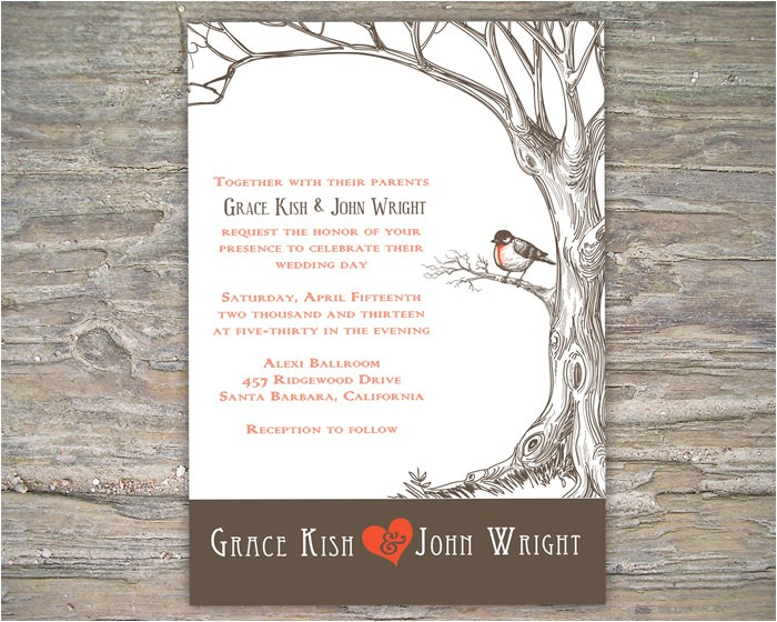 rustic tree invitation printable diy for wedding or event