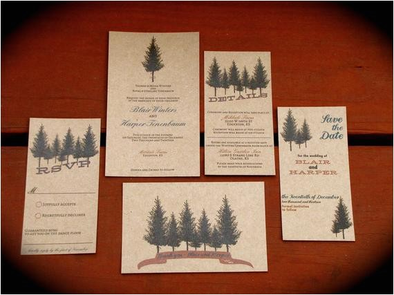 rustic tree wedding invitation diy
