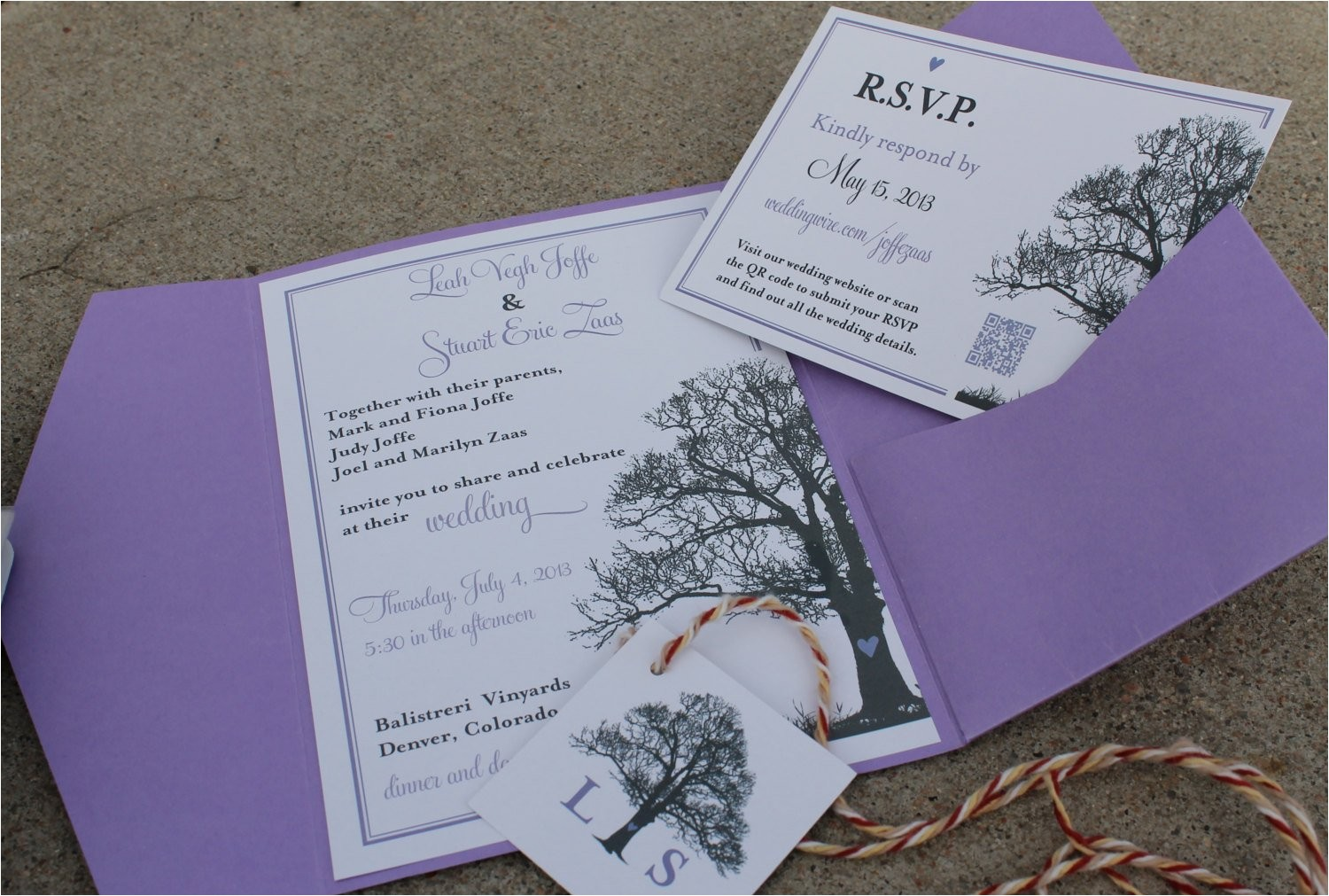 tree theme wedding invitation rsvp card