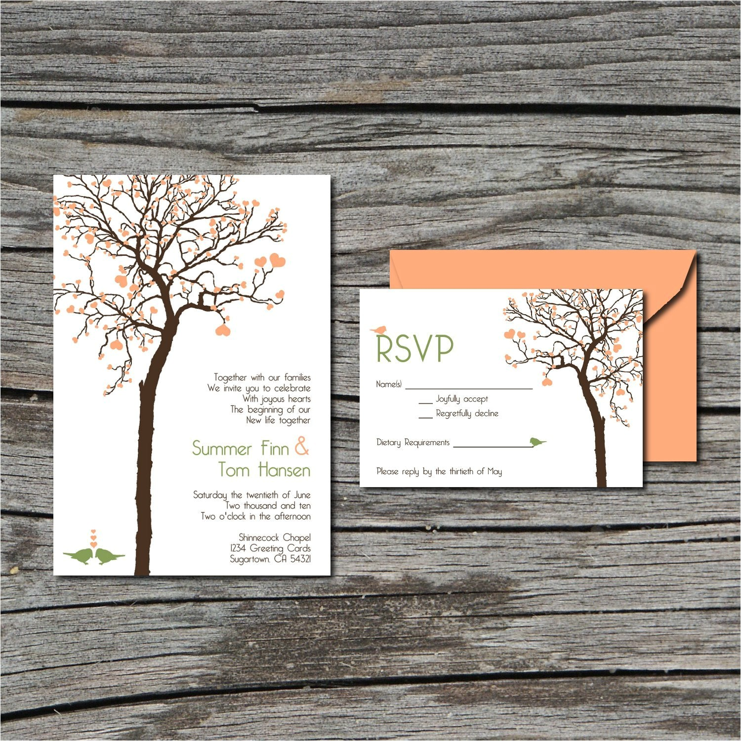Diy Tree Wedding Invitations Wedding Invitation Diy Invite and Rsvp Heart Tree