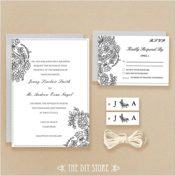 wedding invitation and rsvp card diy