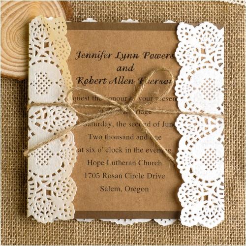 classic rustic lace square wedding invitations ewls009