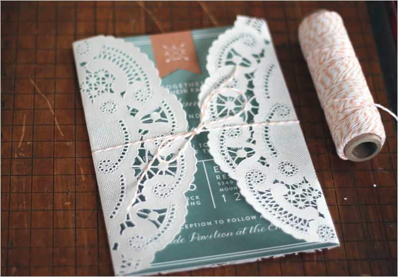 oh what love diy a lace doily wedding invitation sleeve