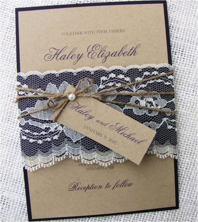 rustic wedding invitation lace wedding invitation shabby chic wedding kraft invitation suite diy wedding invitation kit or printable