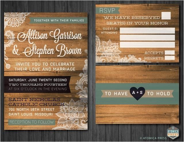diy printable rustic barn wood lace wedding invitationrsvp card indie shabby chic vintage country texture wedding invitation