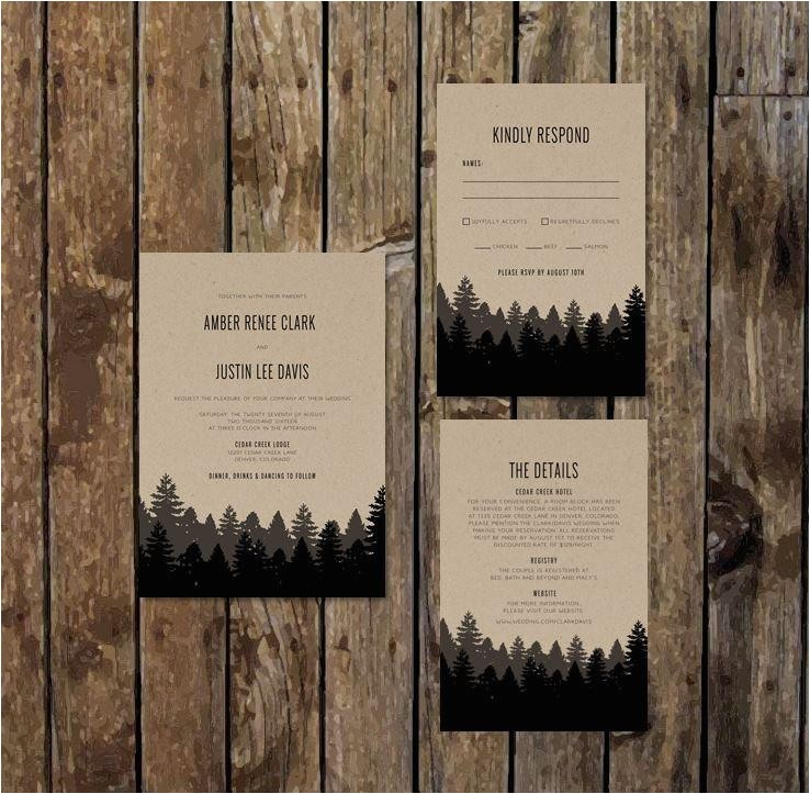 Diy Woodsy Wedding Invitations Diy Printable Woodsy Wedding Invitations with Rsvp