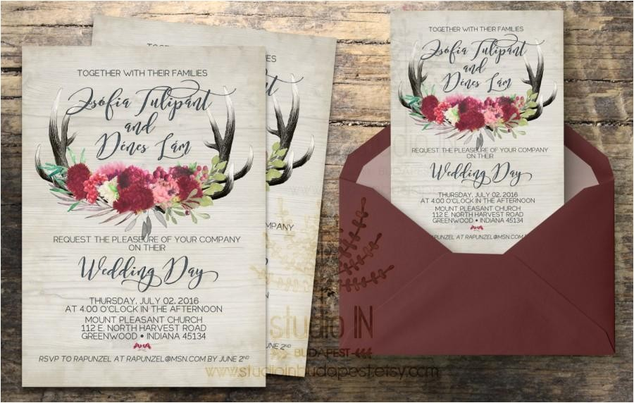 rustic wedding invitation rustic wedding invite calligraphy boho floral wedding rsvp card diy digital invitation set wood background